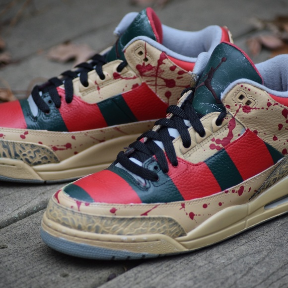 best website eeecc 2a82d Custom Nike Air Jordan Retro 3 Freddy Krueger